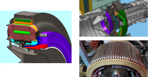 OSU Induction Machine; Motor 1 (300kW) shown validated cooling path and stator manufacturing, Motor 2 (1MW) validates tape coil fabrication and stator integration, Motor 3 (2.7MW) validates performance.