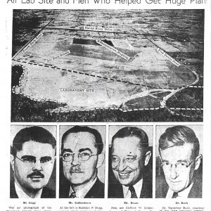 Newspaper article featuring aerial and portraits.