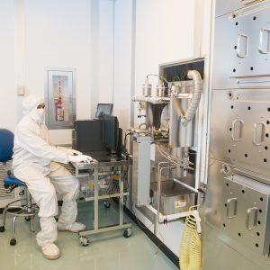 Technician in furnace area.