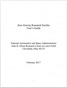First page of Zero Gravity Research Facility user's guide
