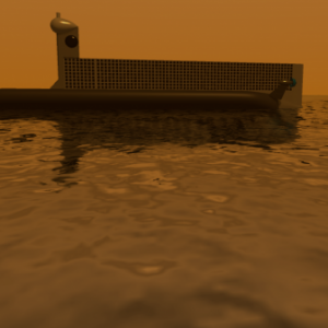 Computer image of a submarine in water.