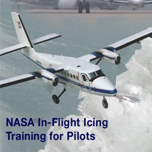 """Plane flying through the air and it says below the plane """"NASA In-Flight Icing Training for Pilots."""""""