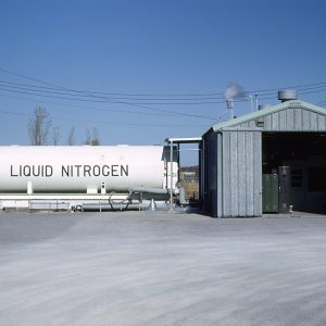 Trailer pulled up to Nitrogen Building