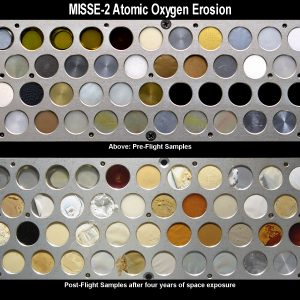 test surface kit showing atomic oxygen erosion.