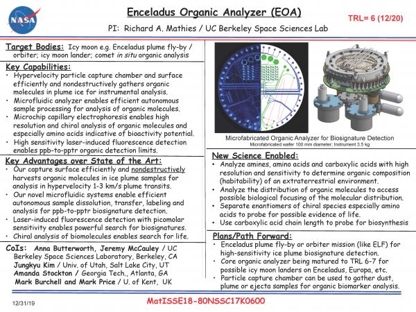 Enceladus Organic Analyzer (EOA)
