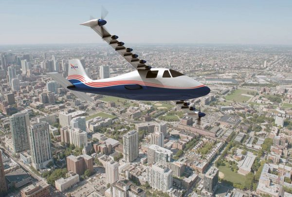 Art rendition of NASA X-57 electric plane flying over a city.